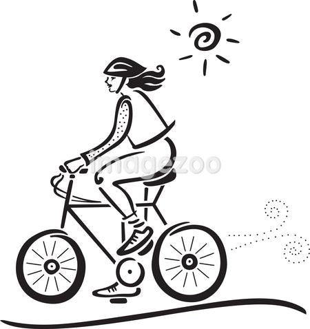 A woman on a bike