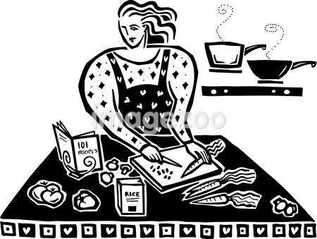 A woman cooking in the kitchen