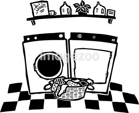 A basket of laundry and the washer and dryer