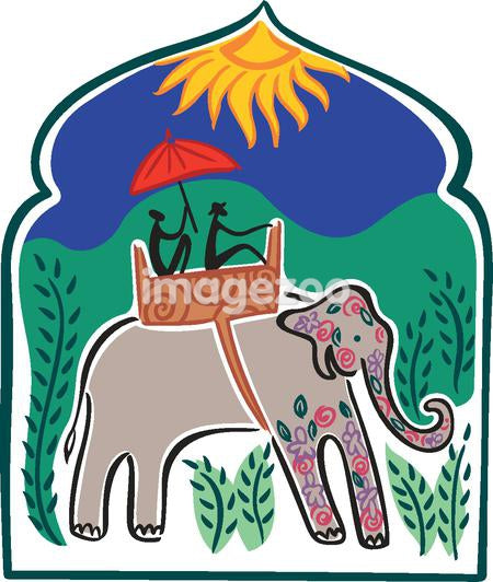Two people riding an elephant under the sun