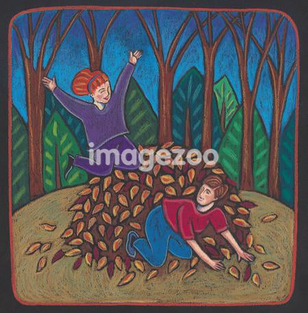 Children playing in a pile of autumn leaves