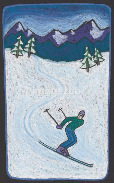 A down hill skier on a snowy slope