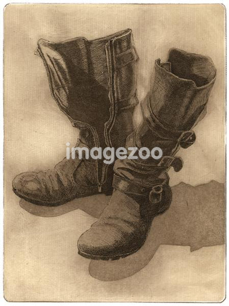 Drawing of a pair of boots