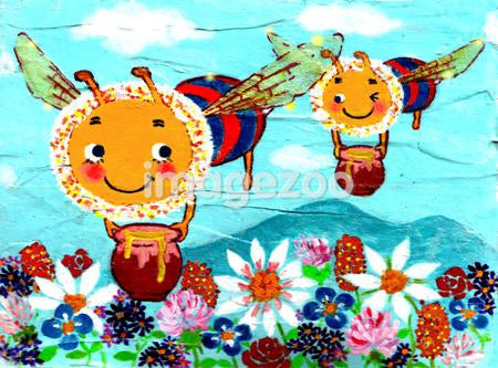 Painting of two bees transporting honey to flowers