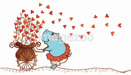 Illustration of a hippopotamus pushing a cart spreading heart shaped flowers