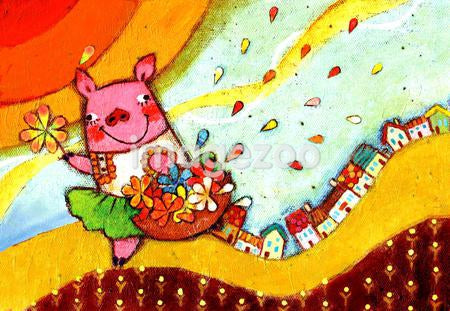 Illustration of a pig carrying a basket full of flowers
