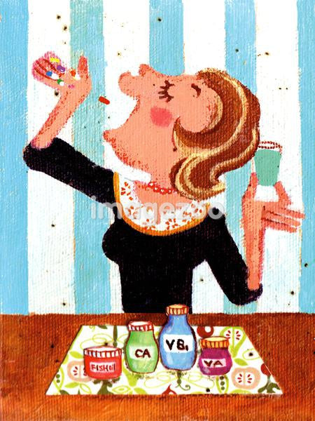 Illustration of a woman taking a range of vitamins