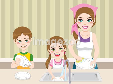 A mother washing dishes with her children