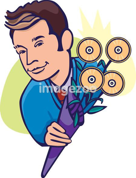 A businessman with a bouquet of CDs