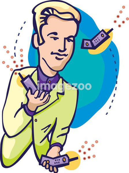 A business man juggling cell phones