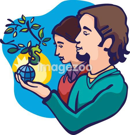 A couple holding a small plant growing out of a globe with a money sign