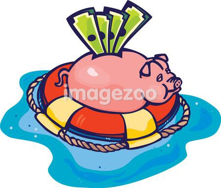 A piggy bank in a floatation device