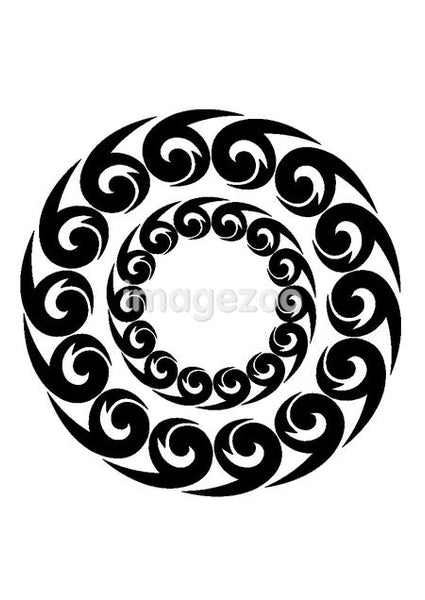 A black and white tribal symbol