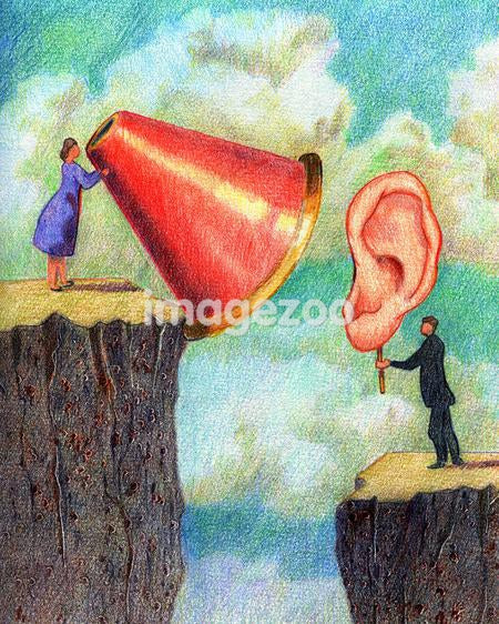 A businessman holding up a big ear to a big megaphone