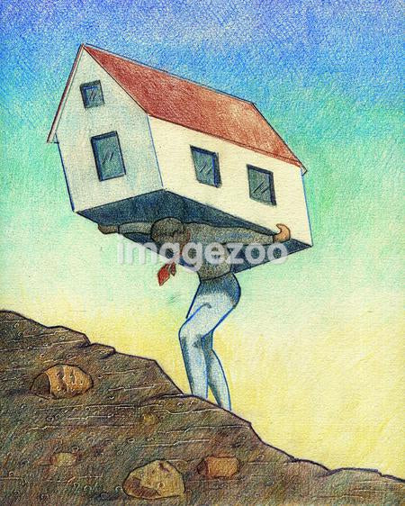 A businessman carrying a house on his back
