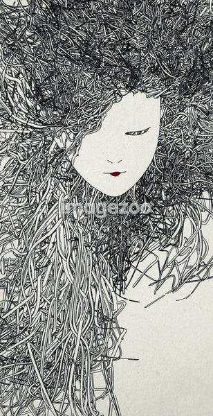 An illustration of a woman's head with long thick hair made up of a collection of grey dots