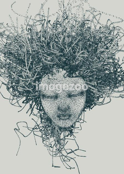 An illustration of a woman's head made up of a collection of grey dots