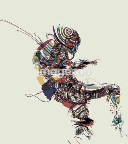 An abstract illustration of a soldier made up of a collection of colorful fragments patterns and shapes