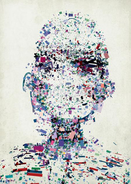 An abstract illustration of a persons head made up of a collection of colorful fragments