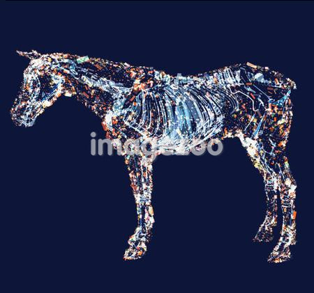 A drawing of a horse with details of muscle, tendons and bones made up of electric shapes and pattern