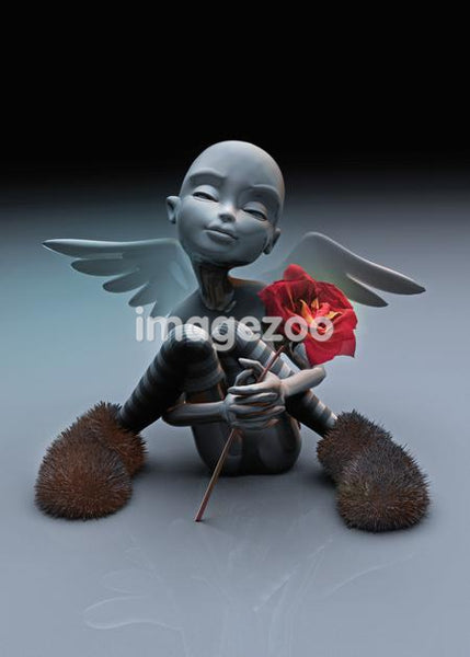 An angel sitting down holding a rose