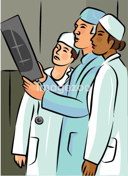 Side view of three health practitioners looking at an x-ray