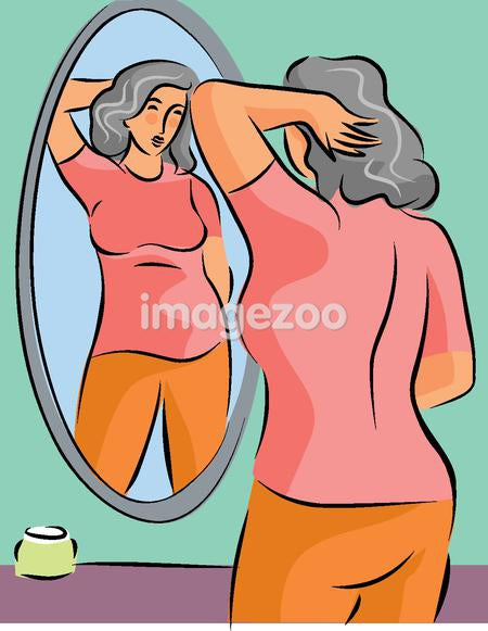 Illustration of a pudgy woman looking at herself in the mirror