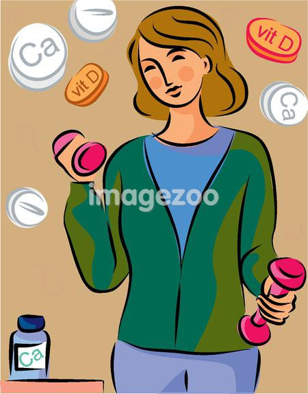 A woman lifting weights with calcium and vitamin D pills in the background