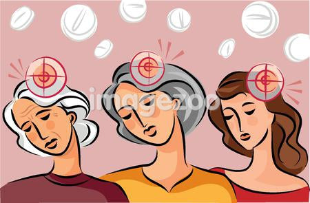Illustration of three generations of women with target circles indicating headaches, and pills in the background