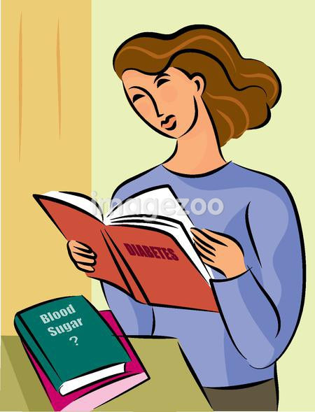 Illustration of a woman reading books on diabetes and blood sugar