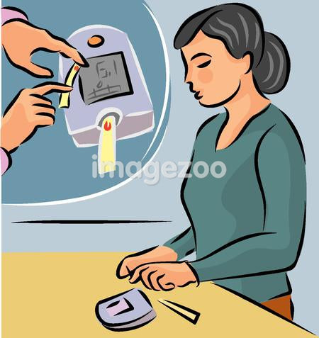 Illustration of a woman testing her blood sugar level