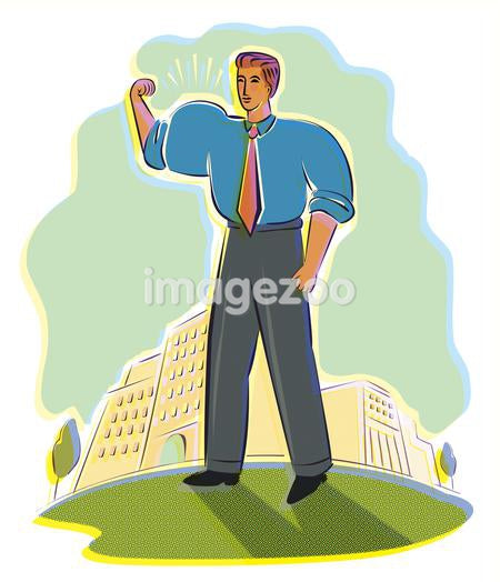 A businessman flexing his arm muscles with the city in the background