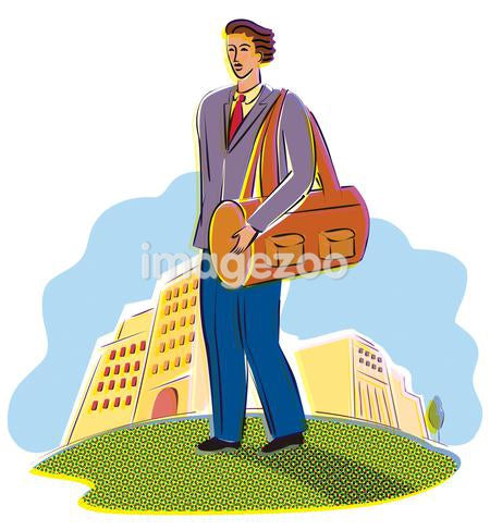 A business man carrying a briefcase with the city in the background