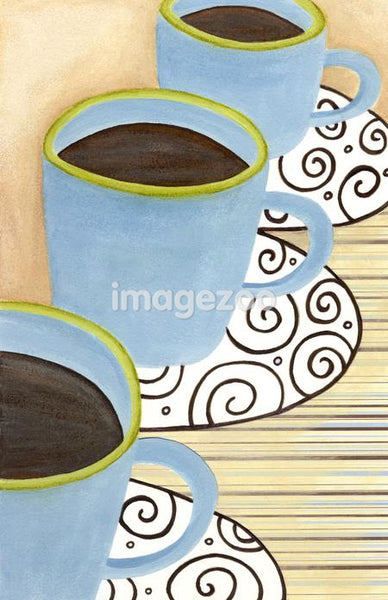 Closeup of three cups of coffee