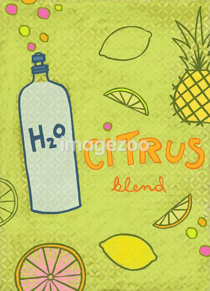 Collage illustration of citrus fruits, pineapple and water
