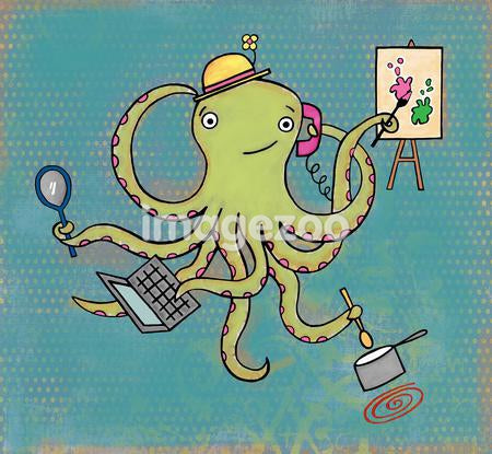 A multi-tasking octopus painting, cooking, talking on the phone, using the computer and holding a mirror at the same time