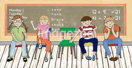 Illustration of school children seated in a row in front of a chalkboard