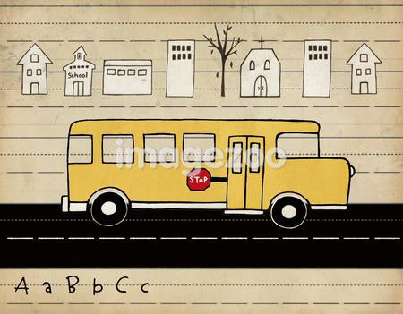 A school bus driving on a road with a row of town buildings behind and alphabet in front