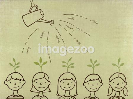 Drawing of a watering can pouring water over children with sprouts coming out their heads