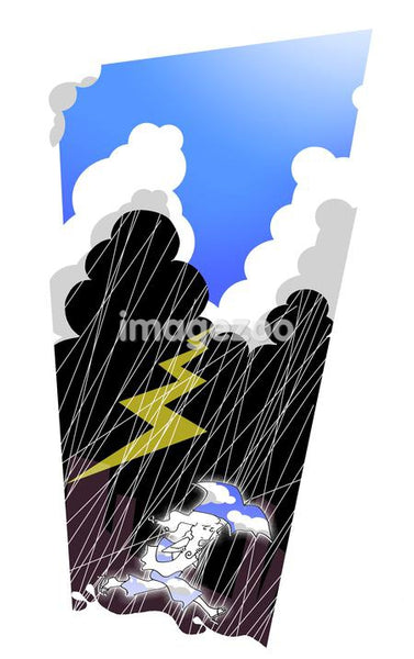 Illustration of a woman running while holding an umbrella during a lightning storm