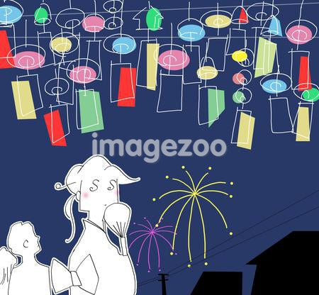 Illustration of people looking at the fireworks in the sky