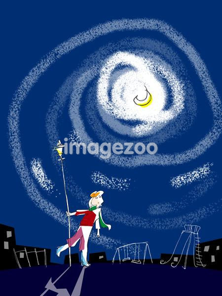 Illustration of a person walking at night