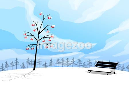 Illustration of a tree and a bench covered with snow