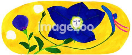 A blue flower character