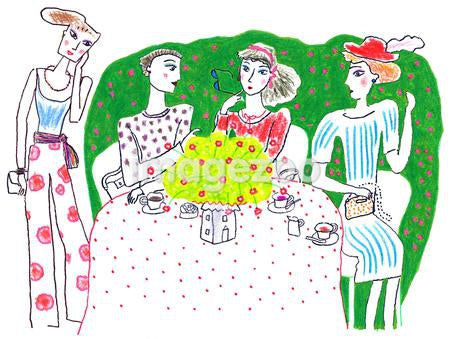 A group of women having a luncheon