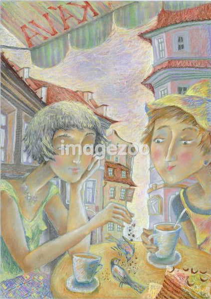 Two women having coffee at a cafe