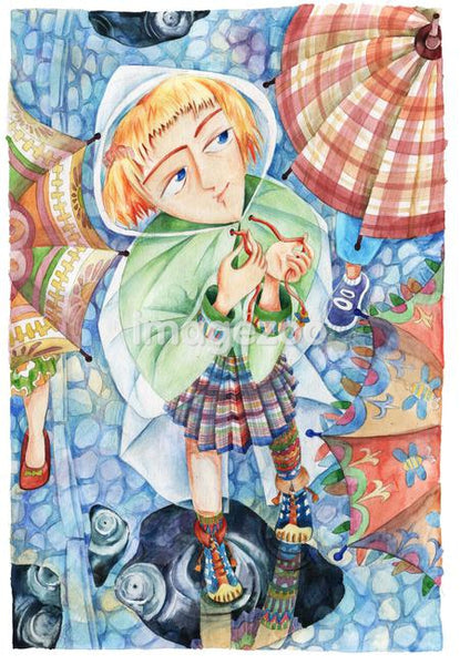 A girl in a raincoat standing near umbrellas