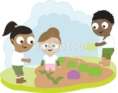 Children growing vegetables in a garden