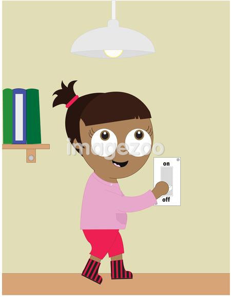 girl turning off light switch to conserve energy