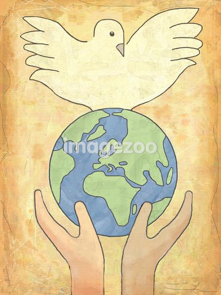 Two hands holding the earth with a dove standing at the top of it